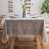 BUBIQUER Stitching Tassel Tablecloth, Cotton Linen Fabric Wrinkle Free Anti-Fading Dust-Proof Washable Tabletop Decoration for Kitchen Party (Grey Grid, Square, 55''x55'')