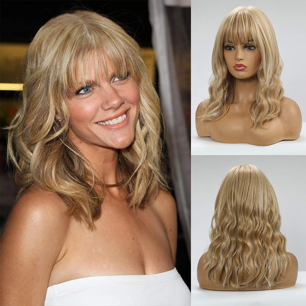 BOGSEA Blonde Wig with Bangs Short Wavy Blonde Wigs for Women Shoulder Length Wig Wavy Synthetic Hair Medium Length Wigs for Cosplay Daily Wear (Blonde) 18 Inch