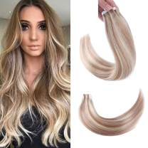 Sindra Straight Tape In Human Hair Extension,Full Cuticle Seamless Skin Weft Hair Extension Piano Color 10/613 Blonde 22inch 50grams/20pcs