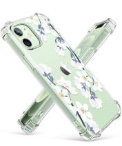 GVIEWIN Clear Floral Case Compatible with iPhone 12 Mini Case 5.4 Inch, Soft & Flexible TPU [Anti-Yellowing] Thin Shockproof Protective Cover Women Flower Pattern Phone Case (Windflower/White)