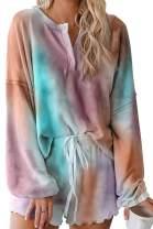 Viottiset Women's Tie Dye Long Sleeve Short Pajama Set Loungewear Sleepwear Nightwear