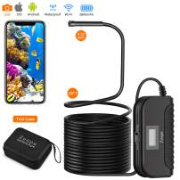 Endoscope Wireless, WiFi Borescope, 33FT, 3.0MP HD Semi-Rigid Snake Camera, Sturdy Case, 5.5mm, 6 LED, IP68 Waterproof, 2800mAh Rechargeable for iOS & Android Smartphone, Tablet, iPhone, iPad etc
