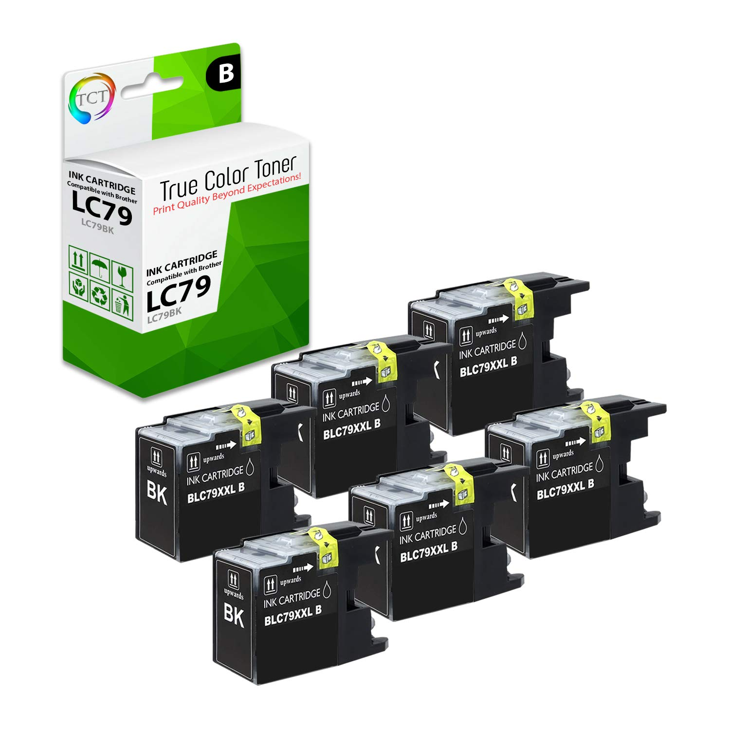 TCT Compatible Ink Cartridge Replacement for Brother LC79 LC79BK Black Super High Yield Works with Brother MFC-5910DW J6510DW J6710DW J6910DW Printers (2,400 Pages) - 6 Pack