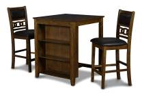 New Classic Furniture Gia Counter Table with Two Chairs and Storage Shelf, 30-Inch, Brown, Set