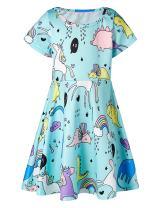 Girls Short Sleeve Dress 3D Print Cute Rainbow Unicorn Clouds Pattern Blue Summer Dress Casual Swing Theme Birthday Party Sundress Toddler Kids Twirly Skirt