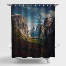 """MitoVilla Epic Western Mountain Scenic Shower Curtain for Bathroom Decor, Yosemite National Park View with El Capitan Mountain Hill Rock Covered by Forest Bathroom Accessories, 72"""" W x 72"""" L"""