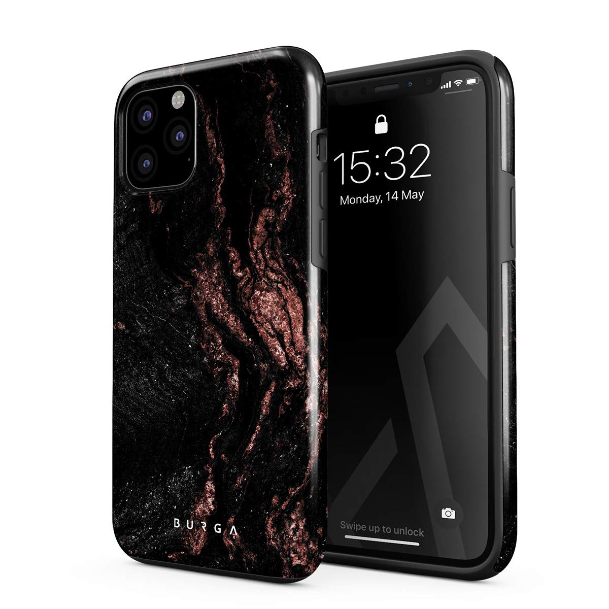 BURGA Phone Case Compatible with iPhone 11 PRO MAX - Copper Wood Rose Gold Marble Cute Case for Woman Heavy Duty Shockproof Dual Layer Hard Shell + Silicone Protective Cover