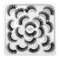 DYSILK 10 Pairs 6D Mink Eyelashes Dramatic Look False Eyelashes Fluffy Fake Eyelashes Natural Volume Faux Eyelashes Wispy Makeup Lashes Handmade Soft Thick Reusable Lashes