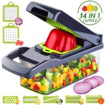 Caannasweis Vegetable Chopper, Pro Mandoline Slicer with Container, 8 in 1 onion chopper slicer dicer for Carrots, Cabbage, Potato, Garlic, Tomato, Fruit, Salad