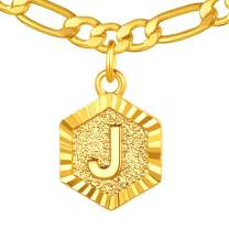 """ChainsPro 26 Letter Necklace, Men/Women Initial Pendant with Chain 16""""+2"""", 18K Gold Plated (Send Gift Box)"""