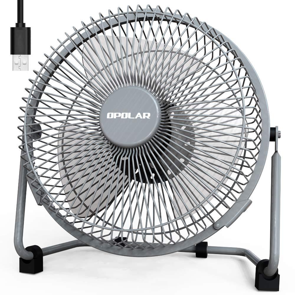 OPOLAR 9 Inch USB Fan, USB Powered Desk Fan (No Battery), Enhanced Airflow, Lower Noise, Two Speeds, Perfect Personal Cooling Fan for Home Office Desk-Gray