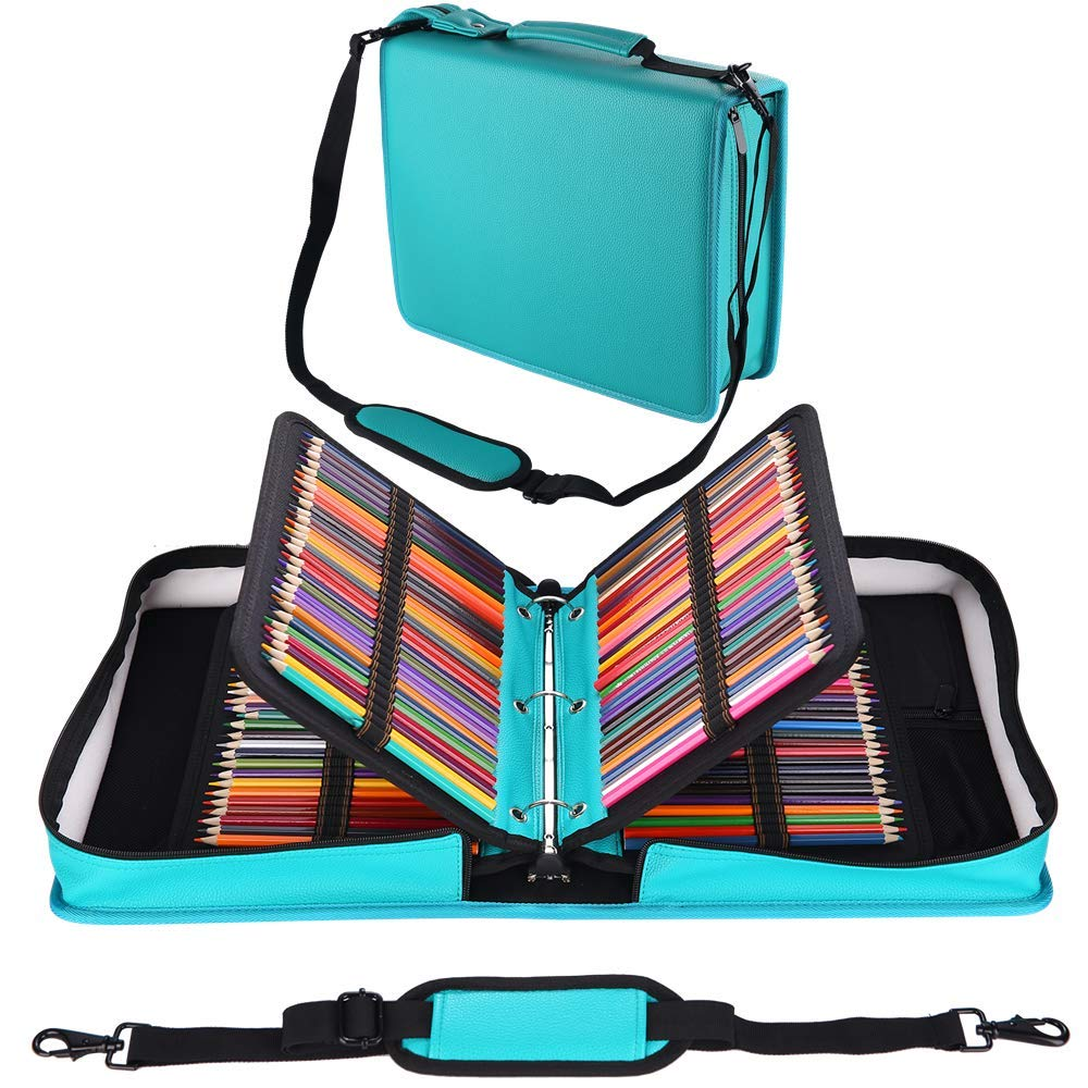 Shulaner 216 Slots PU Leather Colored Pencil Case Organizer Large Capacity Carrying Bag for Prismacolor Watercolor Pencils, Crayola Colored Pencils, Marco Pens, Gel Pens (Lake Blue, 216)