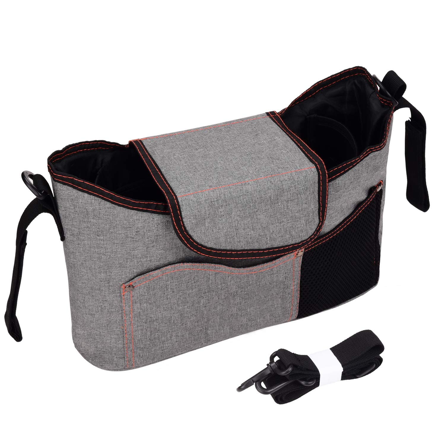 Baby Stroller Diaper Bag Pram Organizer with Cup Holders and Shoulder Strap for Parents by SKYNEW, Light Grey