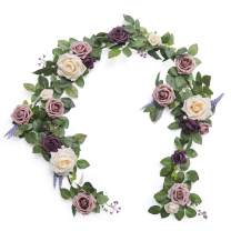 Ling's moment Handcrafted 5ft Full Rose Flower Garland for Wedding Table Centerpieces Arch Flowers Decor (Dusty Rose)