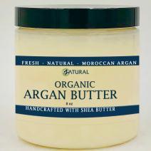 Organic, Virgin ARGAN BUTTER_8 oz_ 2 Ingredients_Organic Argan Oil & Raw Shea Butter_Hair, Skin, Anti-Aging, Moisturizing, Fast Absorbing (4 Pack)