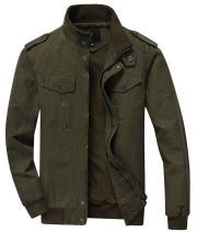 chouyatou Men's Casual Stand Collar Zip-Up Lightweight Bomber Jacket Windbreaker