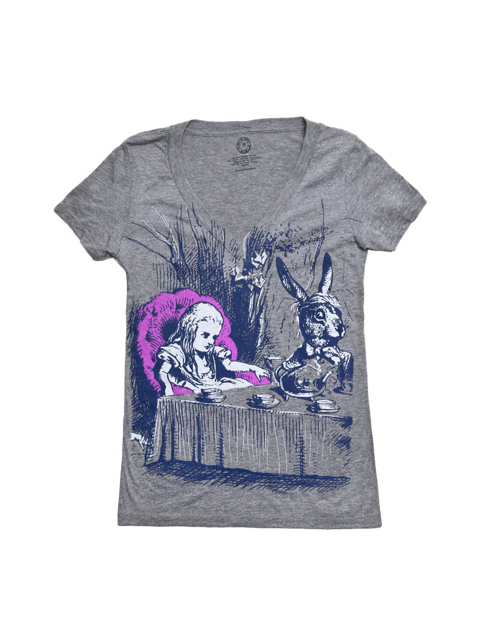 Out of Print Women's Alice in Wonderland T-Shirt Small Premium Heather
