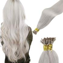 LaaVoo Pre Bonded I Tips Hair Extensions Blonde Stick Itip Human Hair Extensions Platinum Blonde I Tip Remy Extensions Blonde Hair Silky Straight Cold Fusion 50g/50strands 22inch