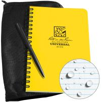 "Rite in the Rain Weatherproof Side Spiral Kit: Black CORDURA Fabric Cover, 4 5/8"" x 7"" Yellow Notebook, and Weatherproof Pen (No. 373B-KIT)"