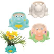 Baker Ross Frog Customisable Ceramic Flower Pots — Creative Art and Craft Supplies for Kids to Make, Personalise and Decorate(2 Pack)