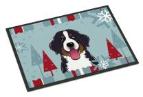 Caroline's Treasures BB1733MAT Winter Holiday Bernese Mountain Dog Indoor or Outdoor Mat 18x27, 18H X 27W, Multicolor