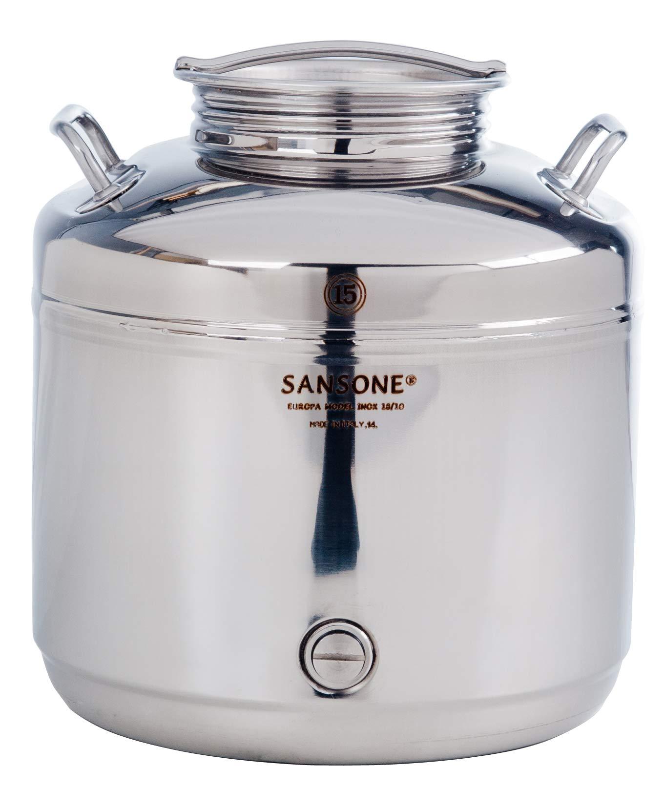 Sansone NSF Stainless Steel Water Dispenser with Spigot, 3.96 gallon, 15 Liters, Silver
