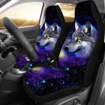 chaqlin Vehicle Seat Protector Bucket Seat Cover Galaxy Wolf Saddle Blanket Protectors for Car SUV Auto 2pcs Set