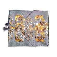 BLUETOP European Style Table Runners Gray 70 Inch Luxury Table Runner with Tassel Hot Stamping Table Runners for Home Hotel Dresser Coffee Table Kitchen Banquet Wedding Party Decoration