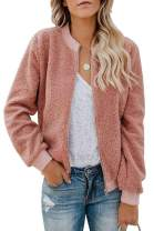 ReachMe Womens Zip Up Sherpa Bomber Jacket with Pockets Casual Short Coat Outwear