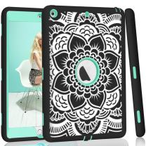 iPad case 9.7 2017 and 2018,PIXIU Heavy Duty Shockproof Full Body 3 Layer Defender Rubber Protective case Cover for iPad 5th Generation A1822 A1823 andiPad 6th A1893 A1954 Flower Black
