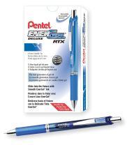 Pentel Gel Ink Pen, EnerGel RTX Retractable Gel Pen, Fine Point, Needle Tip, Blue Ink, Box of 12 (BLN75-C)
