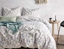 Opcloud Bedding Duvet-Cover-Set,King 600TC Cotton Luxury Soft Floral Comforter Cover Set,1 Duvet Cover and 2 Pillow Shams Bedding-Set