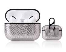 AirPods Pro Case Compatible with Airpods Pro Dust & Shock Proof Leather Protective Cover for Airpods 3 Case with Keychain (Won't Affect Wireless Charging) (Leather-Silver Snake Print)