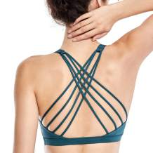 CRZ YOGA Strappy Sports Bras for Women Cross Back Sexy Padded Yoga Bra Tops Cute Activewear