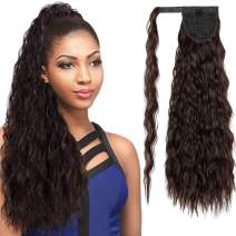"SLLIE 22"" Kinky Curly Wrap Around Yaki Ponytail Extension Long Wavy Synthetic Hair Extensions Clip in Ponytail Black Brown Hairpiece for Women"