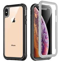 VEGO Case for iPhone Xs Max, Full Body Rugged Case with Built in Screen Protector Anti Scratch, Heavy Duty Shockproof Protective Bumper Cover Case for iPhone Xs Max Black Clear