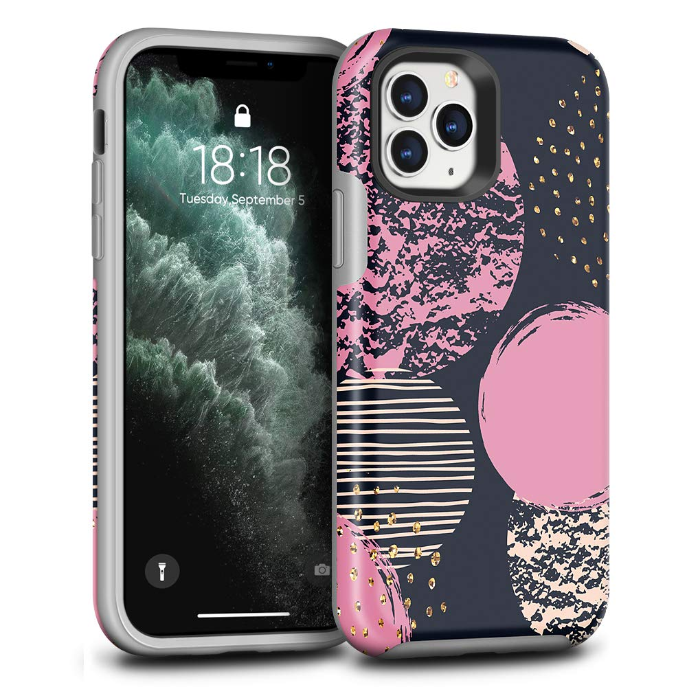 CAFEWICH Case for iPhone 11 pro, Shockproof Hybrid PC+TPE Silicone Rubber Bumper Full-Body Scratch Drop Protection Stylish Phone Cover for iPhone 11 pro 5.8 inch 2019 - (Round Moon)