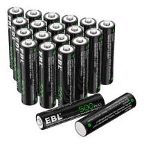EBL AAA Rechargeable Batteries 1.2V 500mAh Triple AAA NiCd Battery Nicad Solar Light Battery - 20 Pack