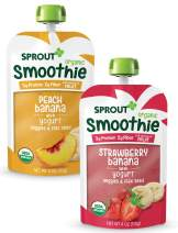 Sprout Organic Toddler Smoothie (Dairy) Variety 4 Oz Pouches (Strawberry Banana Pouches, Peach Banana Pouches), 12Count