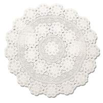 KEPSWET 70 inch Round Beige Crochet Lace Floral Tablecloth Handmade Cotton Coffee Table Party Decor Table Overlay