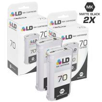 LD Remanufactured Ink Cartridge Replacement for HP 70 C9448A (Matte Black, 2-Pack)