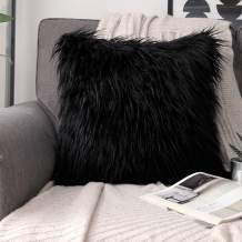 Phantoscope Luxury Series Throw Pillow Cover Faux Fur Mongolian Style Plush Cushion Case for Couch Bed and Chair, Black, 18 x 18 inches, 45 x 45 cm