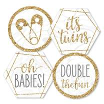It's Twins - Decorations DIY Gold Twins Baby Shower Essentials - Set of 20