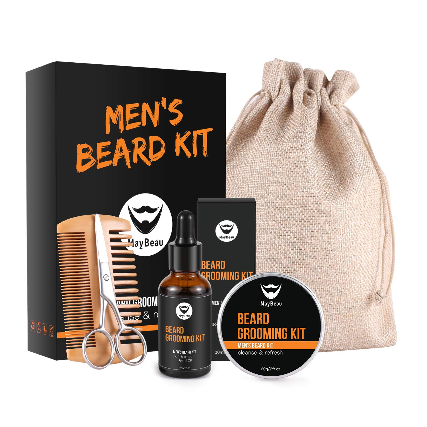 MayBeau Beard Kit for Men 6 in 1 Beard Growth Grooming & Trimming with Unscented Leave-in Conditioner Oil, Balm, Comb Ultimate Trimmer Set