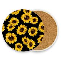 visesunny Classic Sunflower Drink Coaster Moisture Absorbing Stone Coasters with Cork Base for Tabletop Protection Prevent Furniture Damage, 4 Pieces