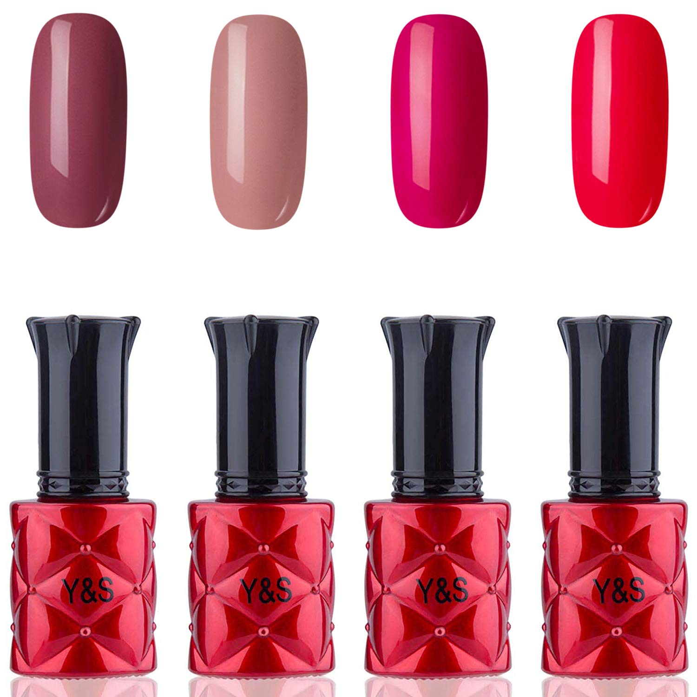 YaoShun Gel Nail Polish - UV Nail Gel Kit Red Bean Paste Series Colors Set Soak Off Nail Gel Gift Box, Gel Polish Manicure Nail Art Kit 8ml Each