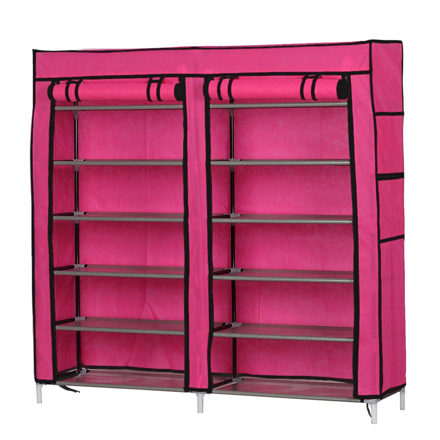 OTU Fashionable Room-Saving 6 Row 2 Line/Dual Rows 12 Lattices Non-Woven Fabric Shoe Rack Rose Red Organizers Storage