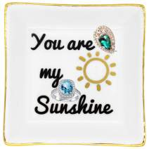 YOBZUO Ceramic Ring Dish Decorative Trinket Plate, Gift for Women-You are My Sunshine