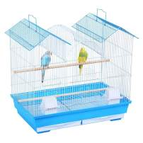 YAHEETECH 23-inch Triple Roof Small Bird Cage for Parakeets Parrotlets Budgies Lovebirds Canary Finch Small Parrots w/2 Handles/2 Slide-Out Trays/2 Feeding Cups/2 Bottom Grilles