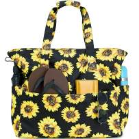 Beach Tote Pool Bags for Women Ladies Large Gym Tote Carry On Bag Waterproof With Wet Compartment for Weekender Travel (Sunflower Black)